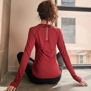 Female Sports Wear For Women Gym Yoga Top T-shirt Longsleves Fitness T Shirt Jersey Women's Workout Tops Sportswear Clothing Sports & Outdoors