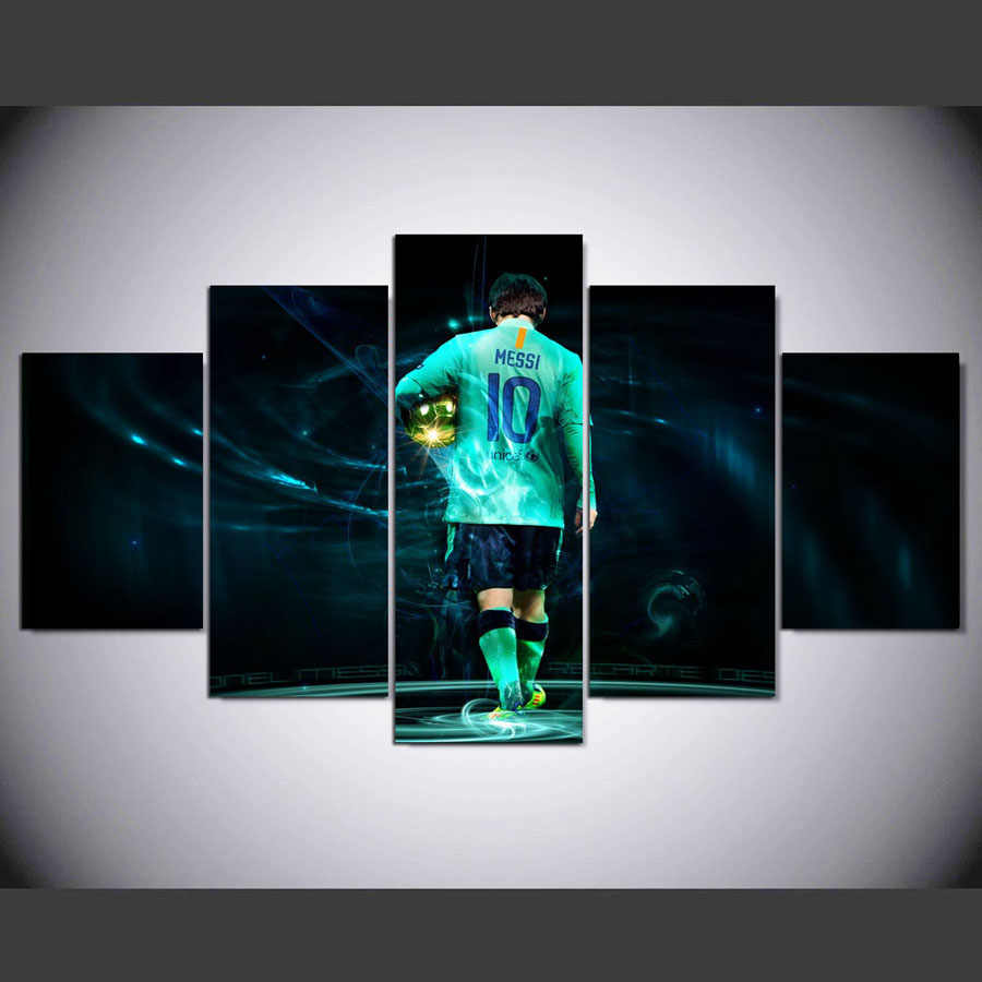 Canvas Paintings Wall Art Framework One Set 5 Pieces Soccer Player Modular Pictures HD Prints Sport Posters Home Decorative