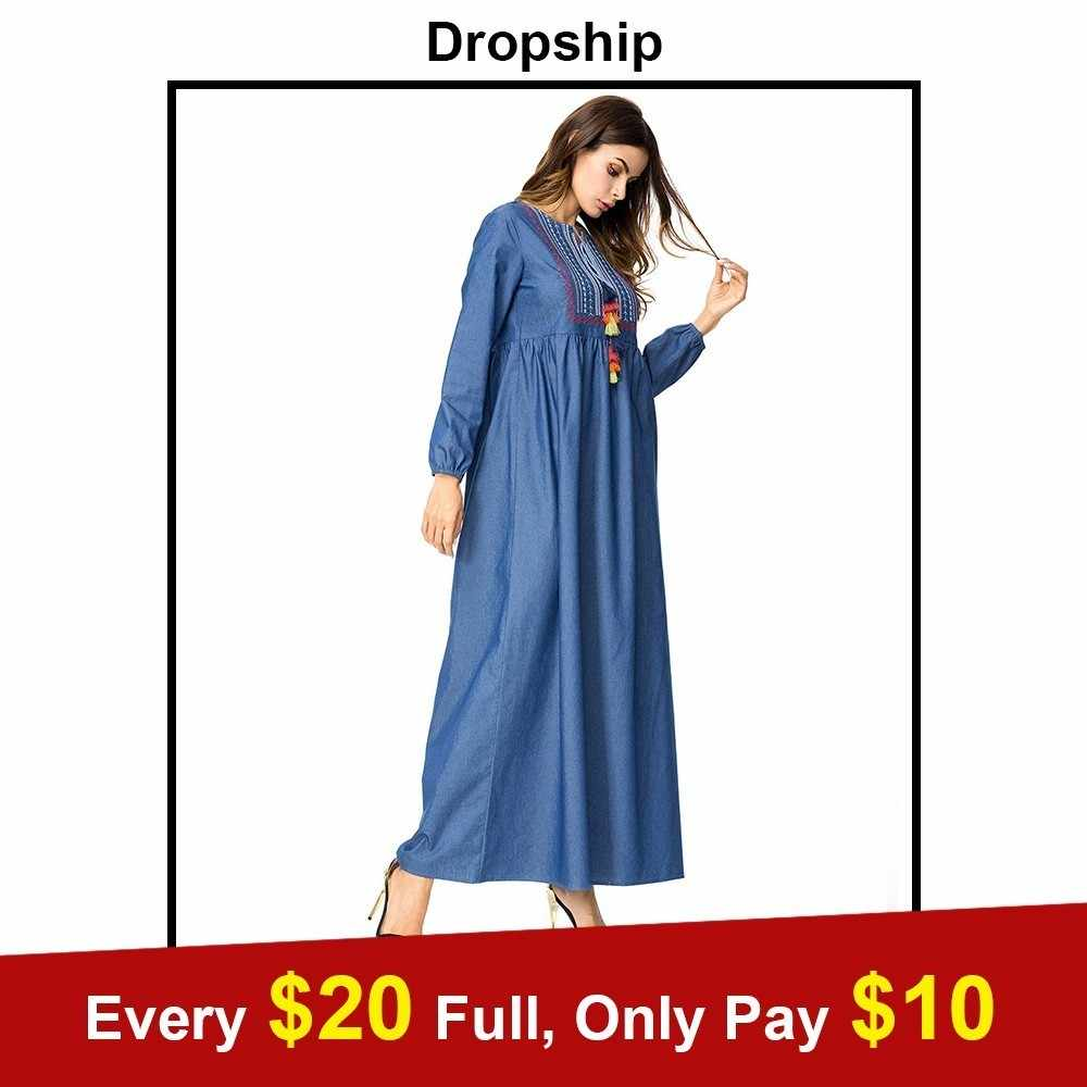 566f8c5fb7 Dropship Casual Women Denim Long Neck Dress Autumn 2018 Geometric Embroidery  Colorful Tassel Drawstring Design Maxi