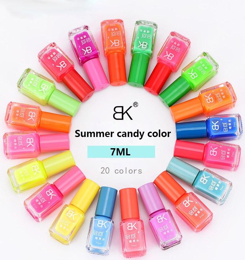 Candy Color Nail Polish: 7ML 20 Colors 1Pcs Series Nail Polish Neon Of Fluorescent