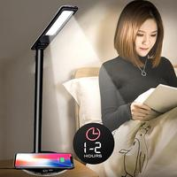 Folding LED Desk Lamp Table Lamp 4 Color Temperature Book Light with qi Wireless Desktop Charger for iphone mobile phone #1115