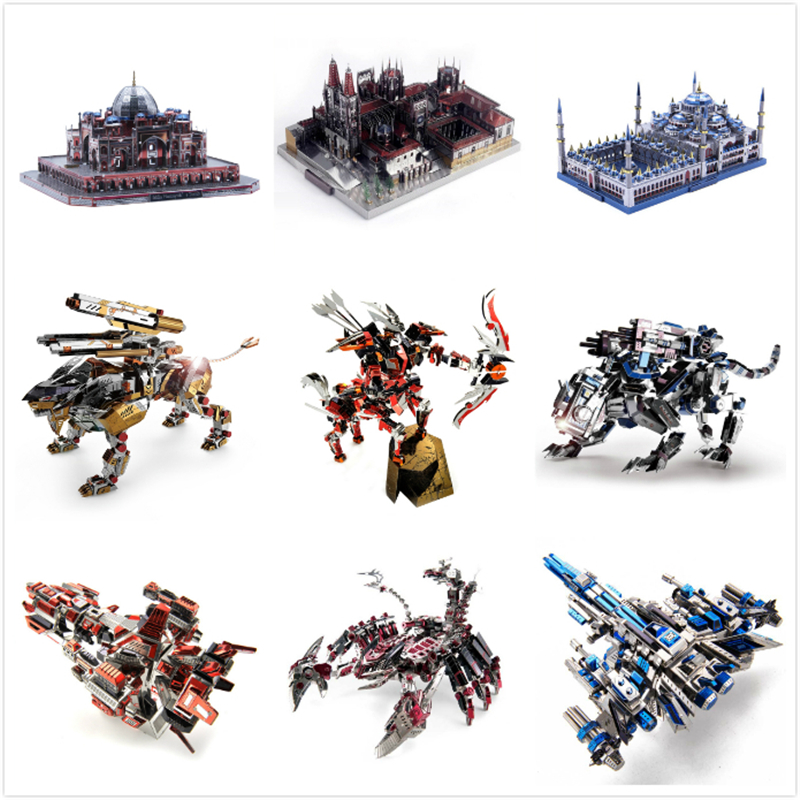Expert 3D Metal Puzzles Action Figures DIY Assemble Model Kits Cathedral Building One Piece Laser Cut Jigsaw Toys Adult Gifts