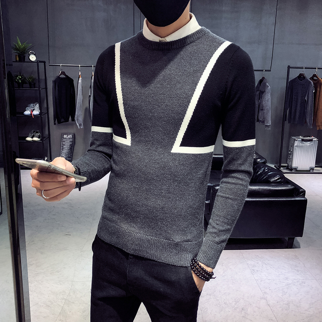 2018 new sweater male Korean version of the trend of self-cultivation round neck winter social spirit guy network red sweater