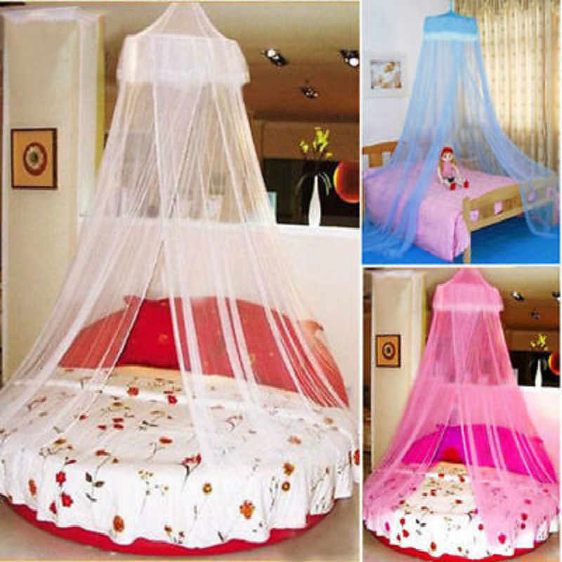 Hung dome mosquito net round princess mosquito net single door mosquito net canopy bites protect for single double king bed