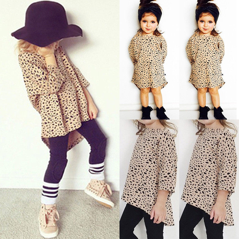 Pudcoco Girl T-Shirt Sundress Leopard-Print Kid 0-5Y Top 3/4-Sleeve