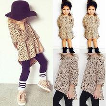 Pudcoco/футболка для девочек; От 0 до 5 лет для маленьких девочек с леопардовым принтом; топ с рукавами 3/4; футболка; детское летнее платье