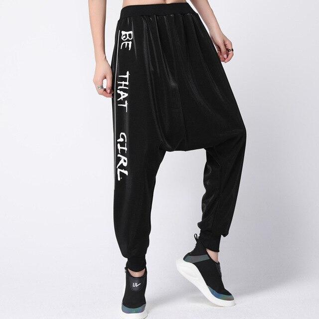afcc4bcbb4 Gothic Plus Size Women Harem Pants Korean Fashion Print words Autumn Winter  Black Pants Pockets Elastic