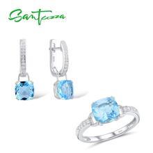 SANTUZZA طقم مجوهرات للنساء حقيقية 925 فضة الزفاف متلألئ الأزرق كريستال أقراط الطوق مجموعة أزياء و مجوهرات