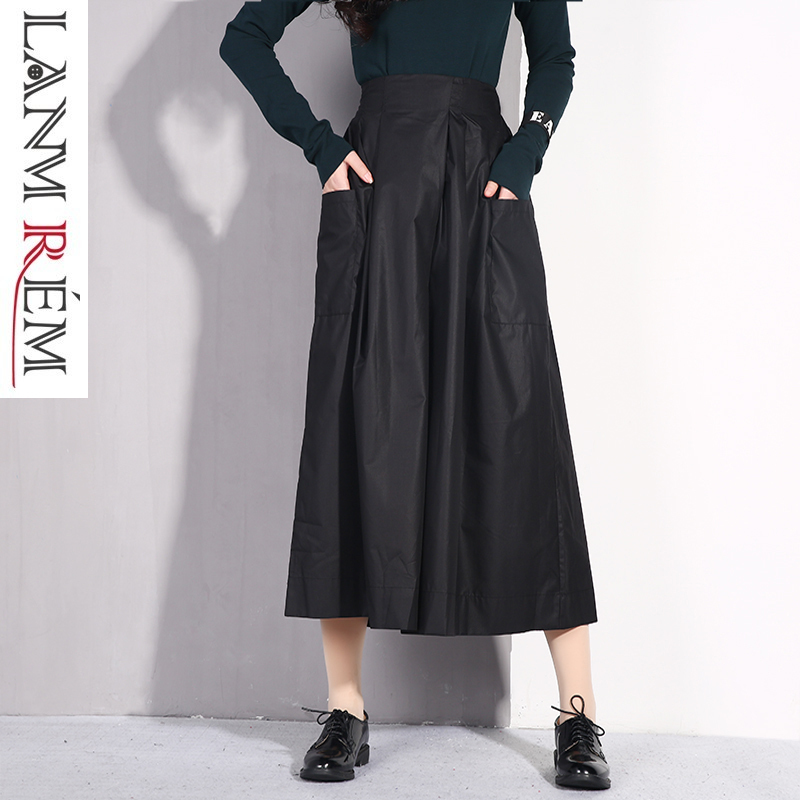 LANMREM 2019 Loose Large Size Doulble Pockets   Wide     Leg     Pants   For Women Spring Summer Casual Comfortable Ankle-Length   Pants   JO253