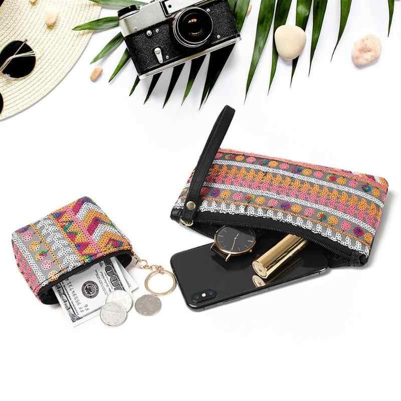 Новое поступление Boho кошелек с рисунком Для женщин ретро квадратный кошелек из искусственной кожи молния телефон денежные банкноты держатель для карт ткачество сцепления