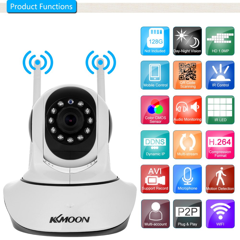 KKmoon 720P 1080P Wireless WIFI Pan Tilt HD IP Camera Support PTZ Two way Audio Night