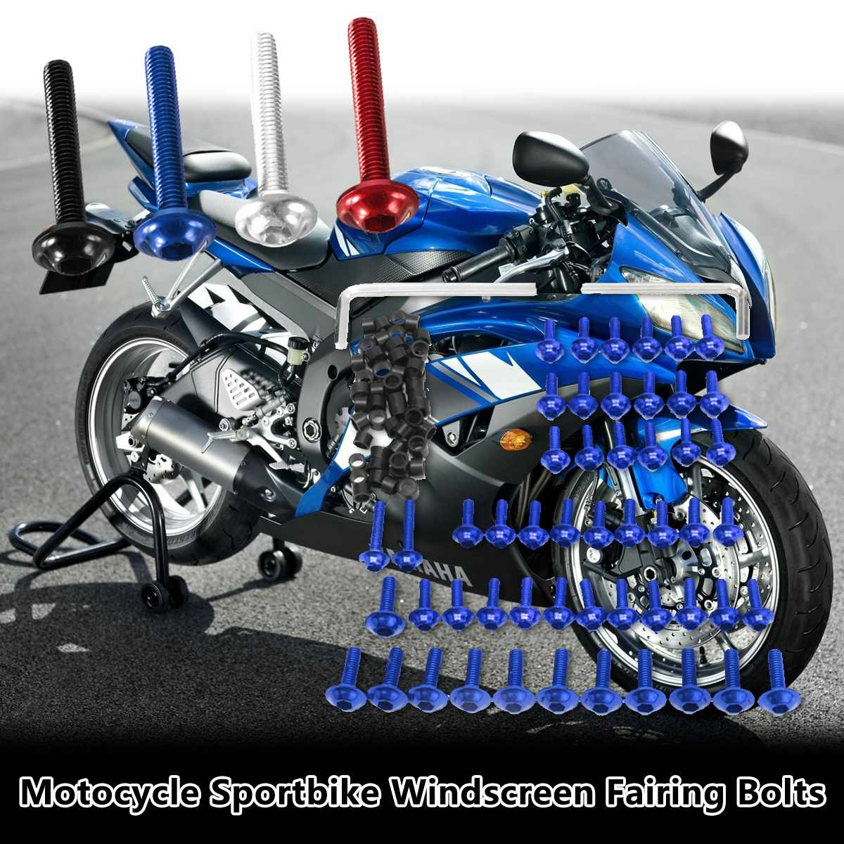 158pcs Motorcycle Fairing Bolts Kit Fastener Clips Screw For <font><b>Yamaha</b></font> YZF <font><b>R6</b></font> 1999 <font><b>2000</b></font> 2001 2002 image