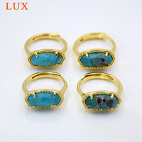 Natural Turquoises Stone Ring hexagon Genuine Turquoises rings prong set gold plating Adjustable Gem stone Ring Jewelry