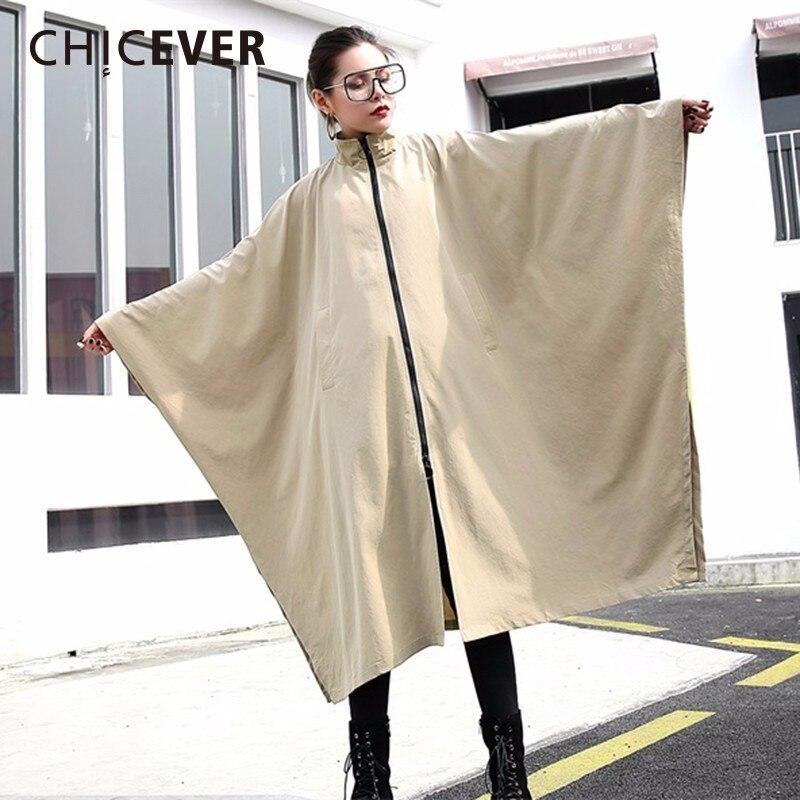 CHICEVER 2019 Spring Zipper Cloak Tench Coat For Women Windbreaker Batwing Sleeve Loose big Size Coats