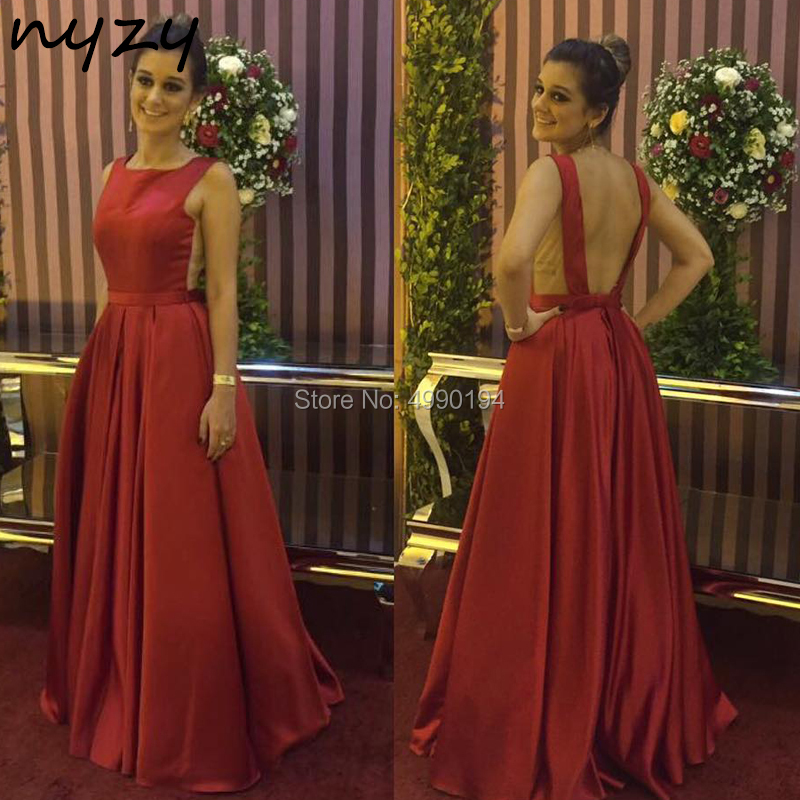 NYZY P14 Plus Size Prom Dresses Long 2019 Backless Burgundy Satin Dress Formal Dress Women Elegant Vestido De Festa Longo