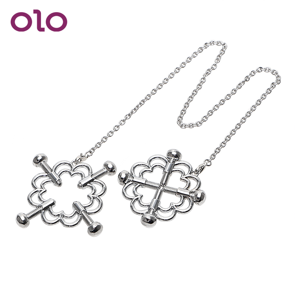 OLO 1 Pair Nipple Stimulator Nipple Clamps Breast Clips Stainless Steel Sex Toys for Couple Adult Games Erotic ToysOLO 1 Pair Nipple Stimulator Nipple Clamps Breast Clips Stainless Steel Sex Toys for Couple Adult Games Erotic Toys
