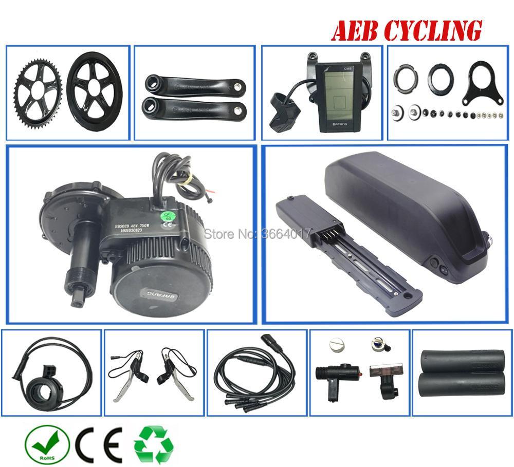 Bafang motor BBS02B 48 V 750 w kit de conversion de vélo électrique batterie akku 48 v batterie BBS02B 48 V 13/17Ah 52v13/17.5Ah EU US pas de taxe