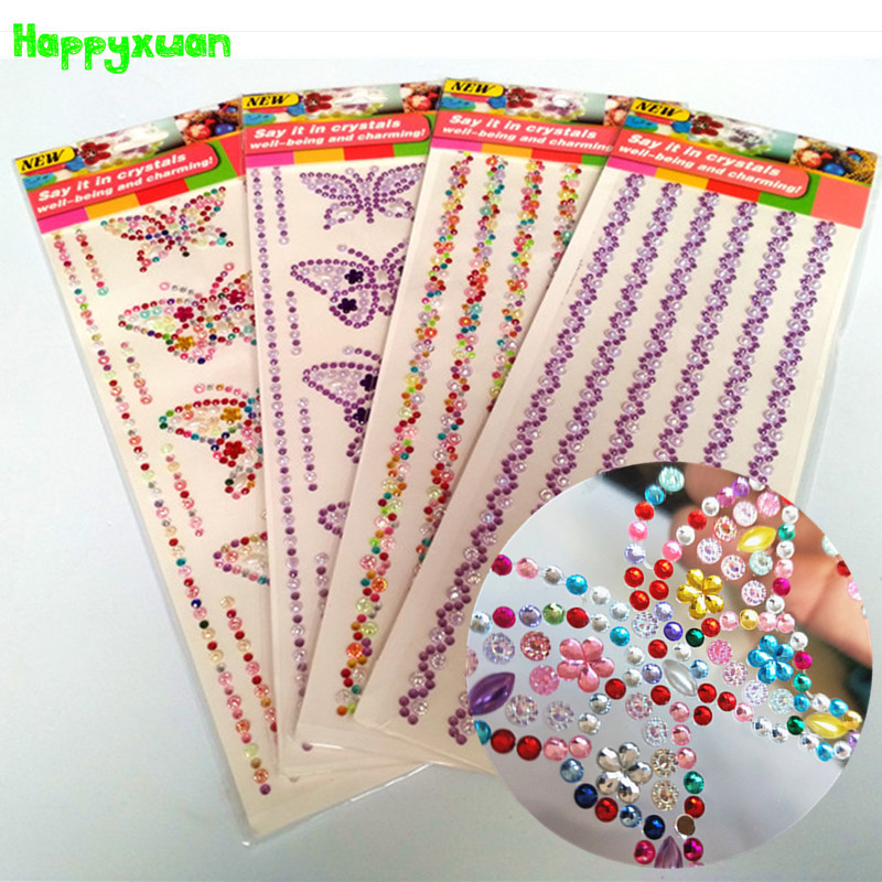 Happyxuan 4 Sheets DIY Crystal Diamond Stickers Butterfly Bracelets Kids Craft Scrapbooking Materials Rhinestone Adhesive Strips