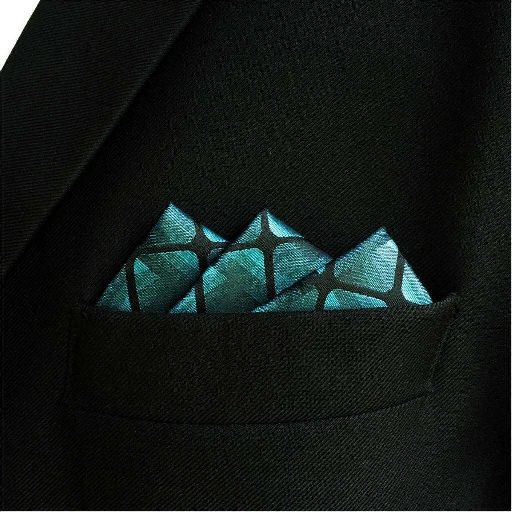 EH10 Teal Blue Green Checkes Silk Mens Pocket Square Fashion Classic Groom Dress Hanky