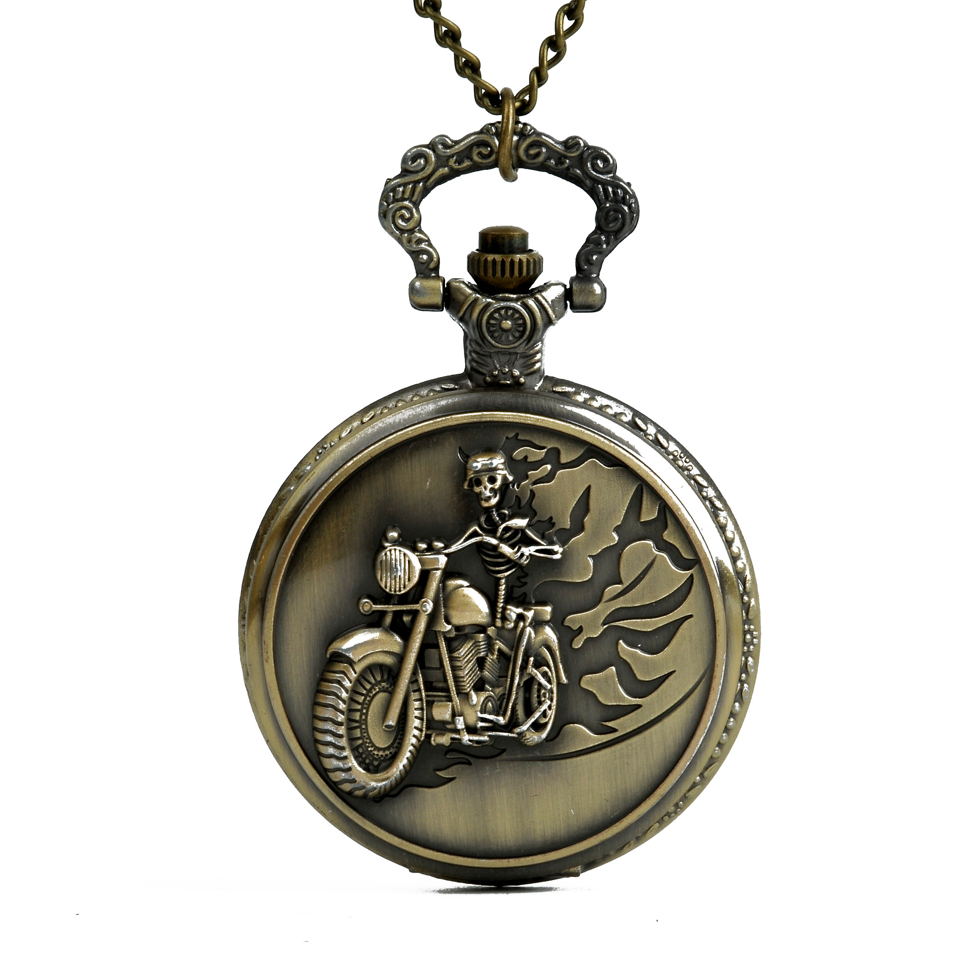 Old Antique  Bronze Skull Design Riding Motorcycle Chain Pocket Watch For Grandpa  And Dad As The Greatest Gifts