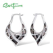 SANTUZZA Silver Earrings For Women 925 Sterling Silver Elegant Black Leaves Shiny Cubic Zirconia Fashion Jewelry Handmade Enamel