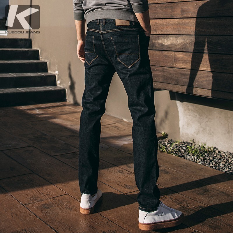 Autumn Men Jeans Cotton Solid Blue Color Pocket For Man Fashion Slim Fit Denim Pants 2018 New Male Wear Long Trousers 2932