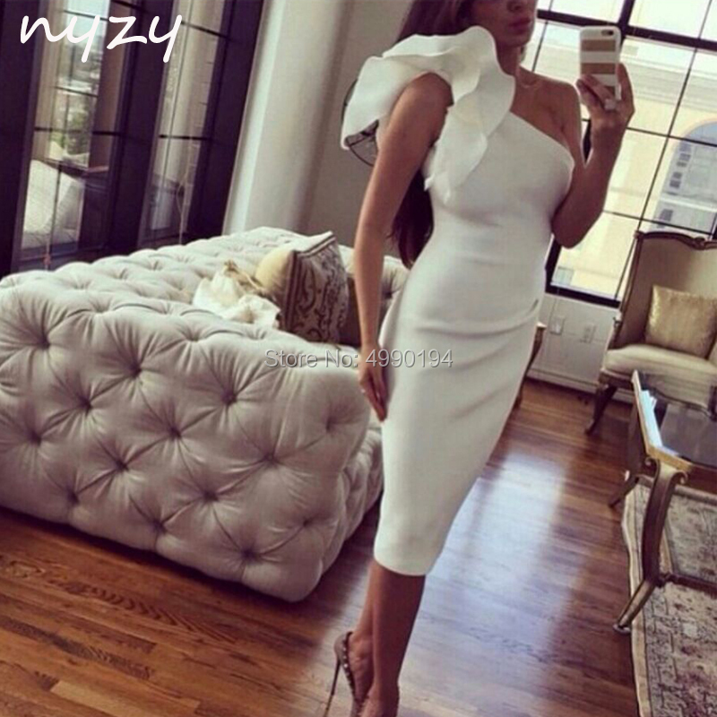 Cocktail     Dresses   Tea Length One Shoulder Mermaid Satin   Dress   for wedding party graduation homecoming 2019 NYZY C45