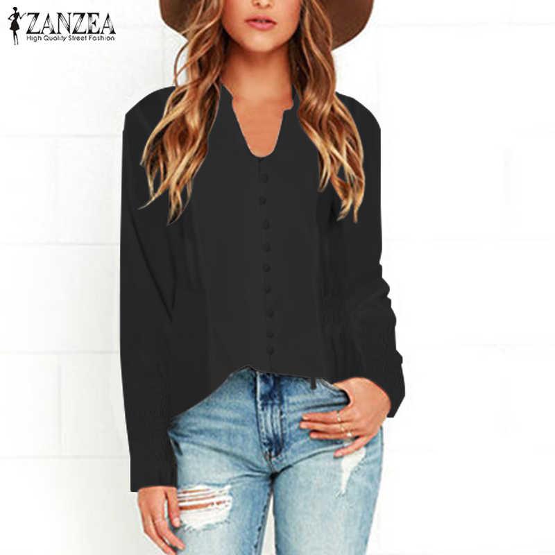 Топ Мода 2019 ZANZEA эластичные манжеты рубашки для мальчиков повседневное V средства ухода за кожей шеи Блузка с длинными рукавами для женщи