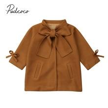 Коллекция года, новое модное шерстяное пальто для маленьких девочек, зимнее шерстяное пальто теплая верхняя одежда коричневого цвета с длинными рукавами и бантом, От 2 до 8 лет