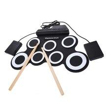 ABGZ-7 подушечки портативные цифровые USB Скручивающиеся складные силиконовые электронные барабанные подушечки комплект с барабанными палочками педаль