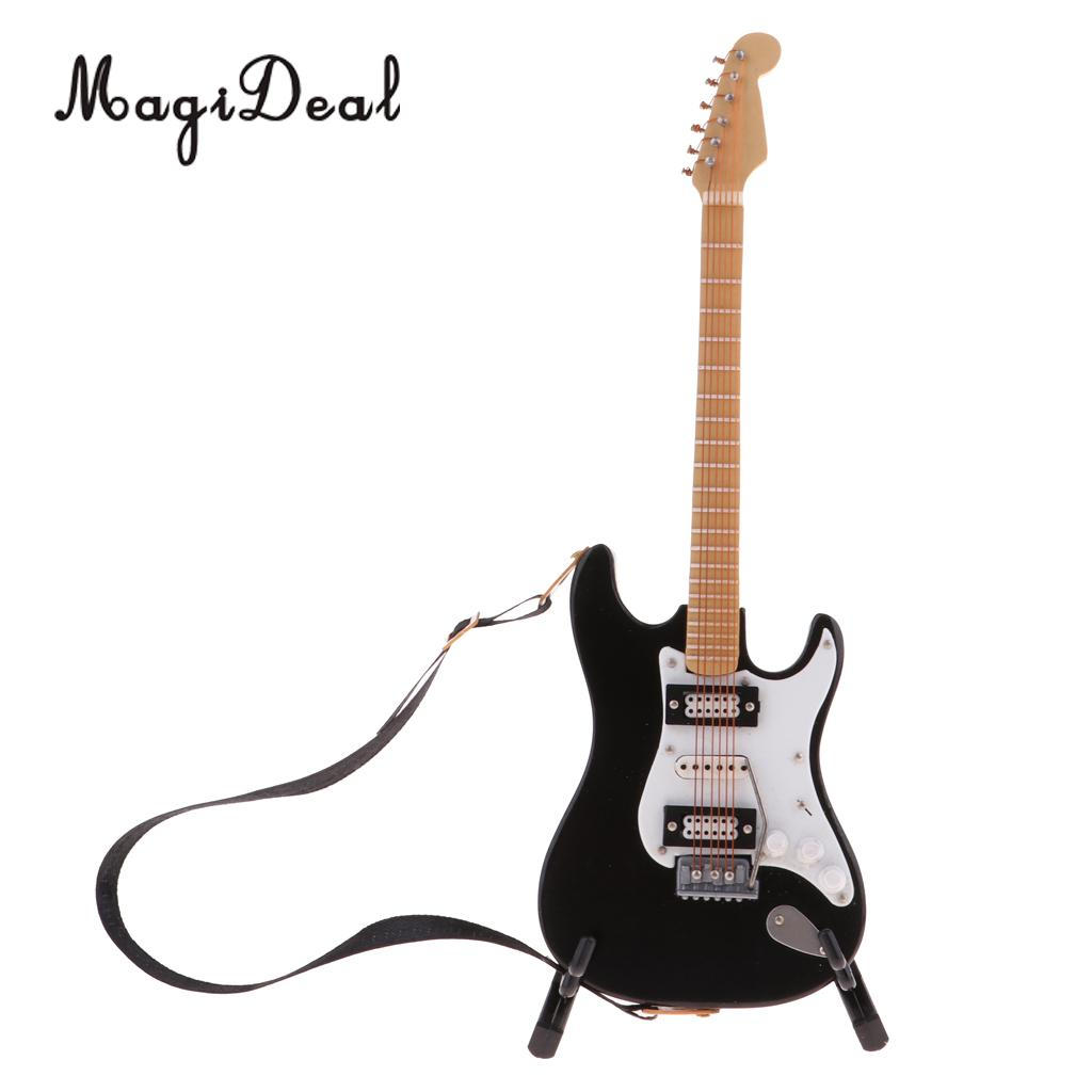 1/6 Scale Miniature Musical Instrument Craft Toys Electric Guitar Model Dollhouse Decoration Accessory Black
