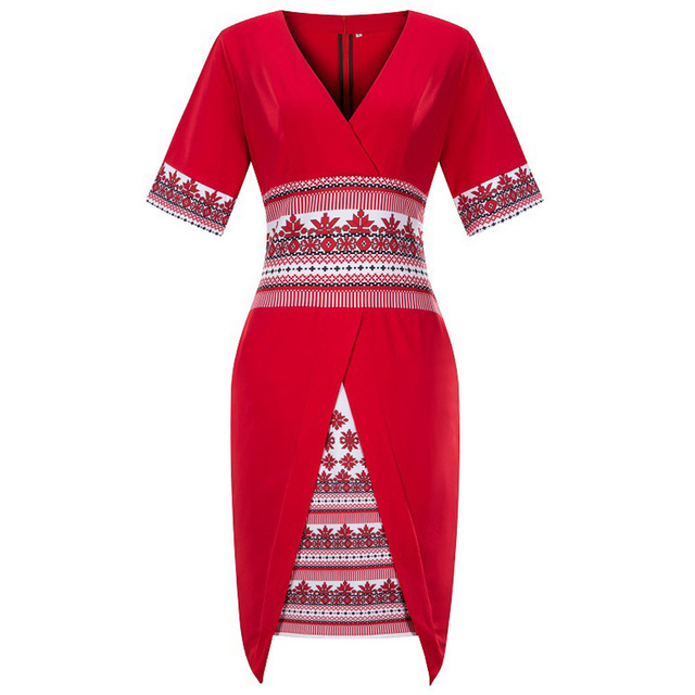 47cbe30aa5 US $14.71 52% OFF|Wipalo Plus Size National Print Vintage Dress Women Short  Sleeve V Neck Rockabilly Work Bodycon Sheath A Line Pencil Dresses Red-in  ...