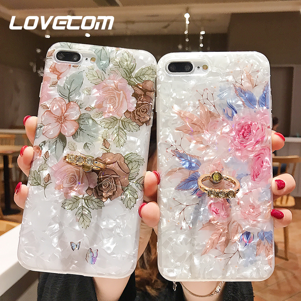 LOVECOM Retro Floral Ring Stand Phone Case For IPhone 11 Pro Max XR XS Max XS 7 8 6 Plus Case Soft IMD Dream Shell Phone Cover