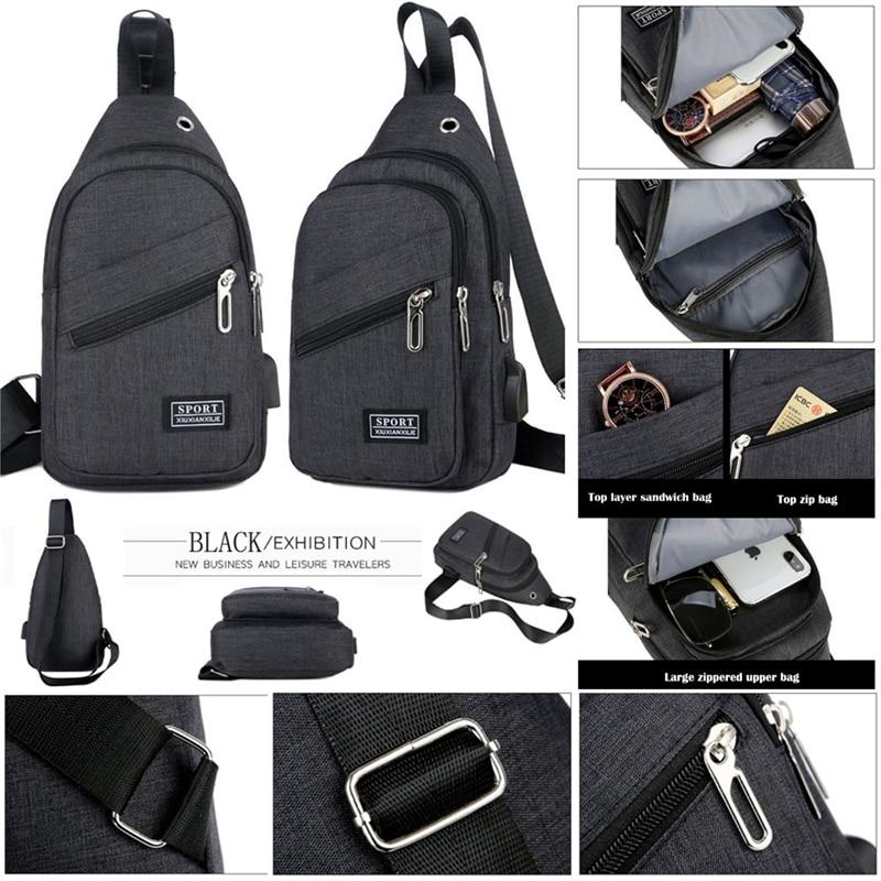 Mens Chest Pack Messenger Sling Sport Travel Crossbody Shoulder Bag USB Charging