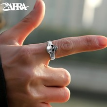 Zabra real 925 prata esterlina punk crânio anel masculino vintage anéis para amantes da moda legal jóias anillos de plata 925