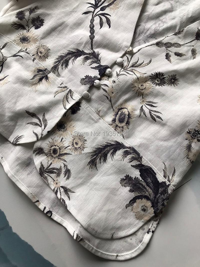 Cou Élégant 2019 Avec Manches Haut Chemisier Gamme Imprimé Blanc De Floral Chemise 100 Peplum Blouse Top Bouton Avant Femmes Flare Court Linge V aHqXxTHR