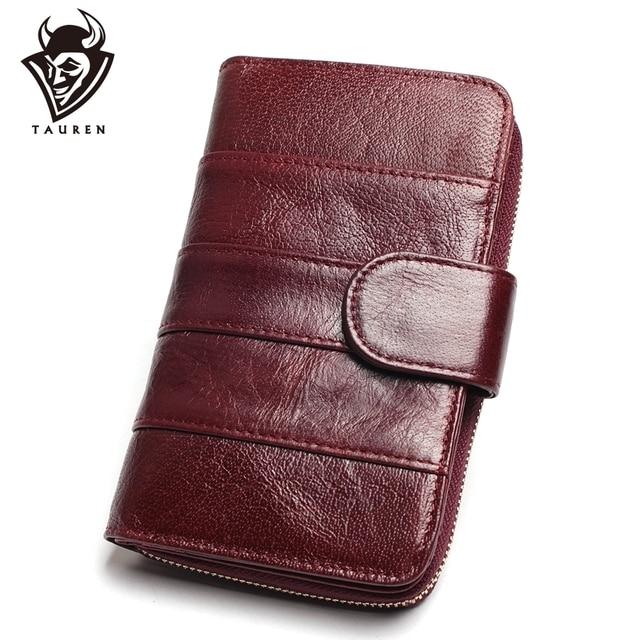 Women Split Leather Style Import Oil Wax Cowhide Medium Paragraph Buckle Leather Wallet Women's High Quality Purse