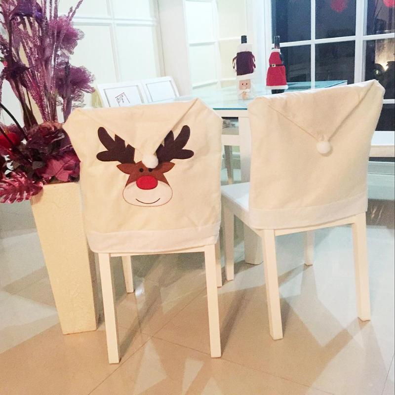 christmas dining room chair covers | Cartoon Elk Embroidered Deer Hat Chair Covers Christmas ...