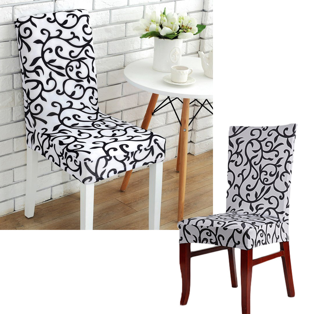 Fabric Morning Glory Stretch Dining Room Chair Covers Soft Spandex Fit Banquet Chair Seat Protector Slipcover With Printed