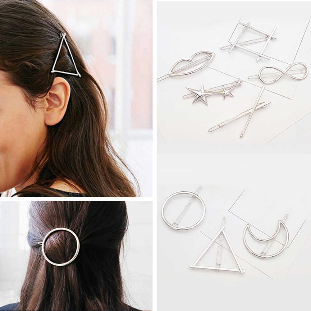 Geometris Bibir Bintang Simpul Jepit Rambut Klip untuk Wanita Rambut Sisi Jepit Ekor Kuda Jepit Rambut Anak Perempuan Logam Rambut Klip Rambut Aksesoris