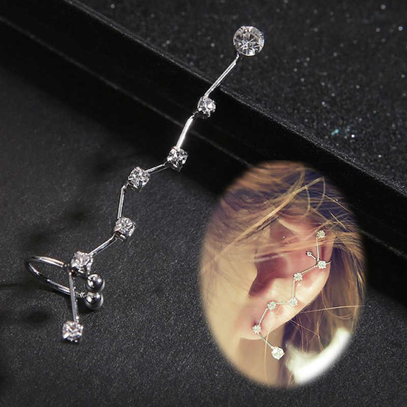 1 ADET Sıcak Gümüş Altın Kristal Küpe Kulak Manşet Piercing Klip Küpe Charm Takı bijoux Buklet D 'Oreille Klip kadın