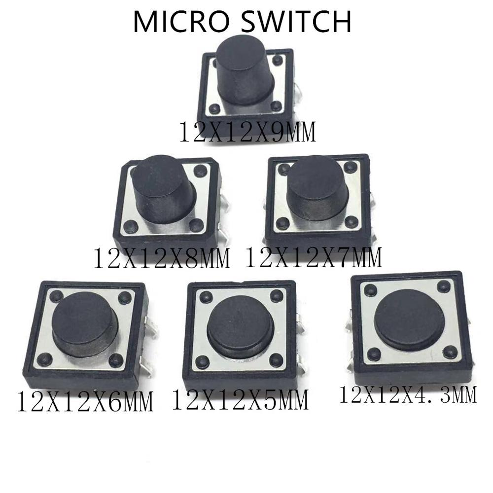 100PCS 6mm×6mm×4.3mm Tact Tactile Push Button Switch SMD-4Pin