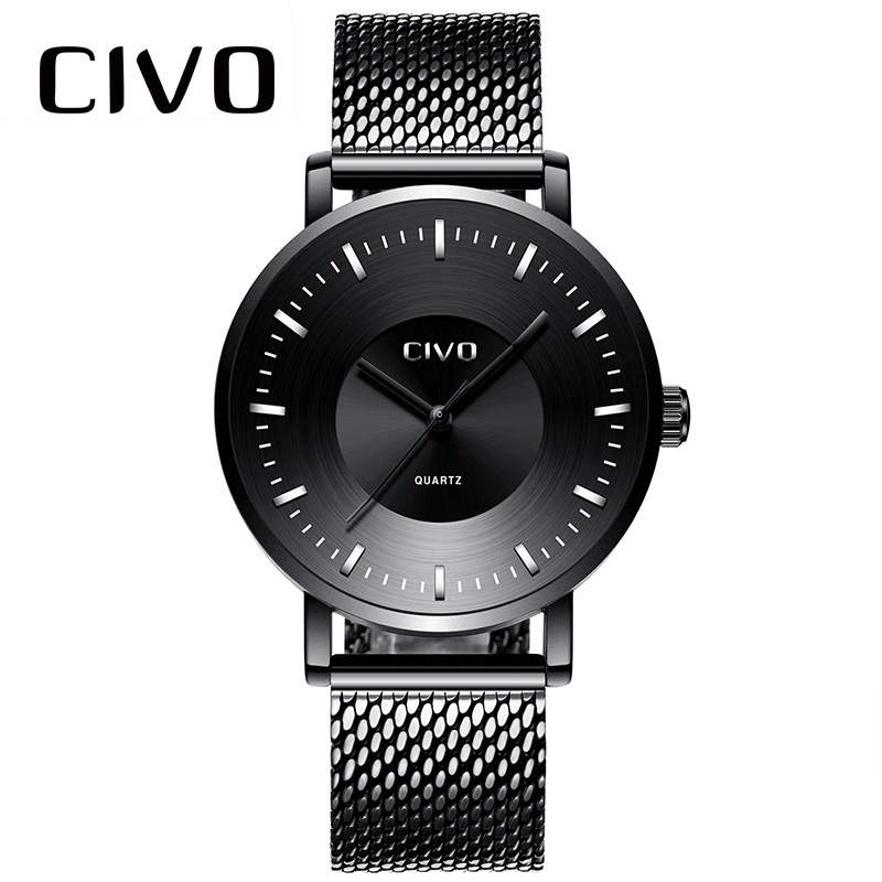 CIVO Creative Curved Watch For Mens Simple Design Black Steel Mesh Waterproof Analogue Quartz Wrist Clock Relogio Masculio