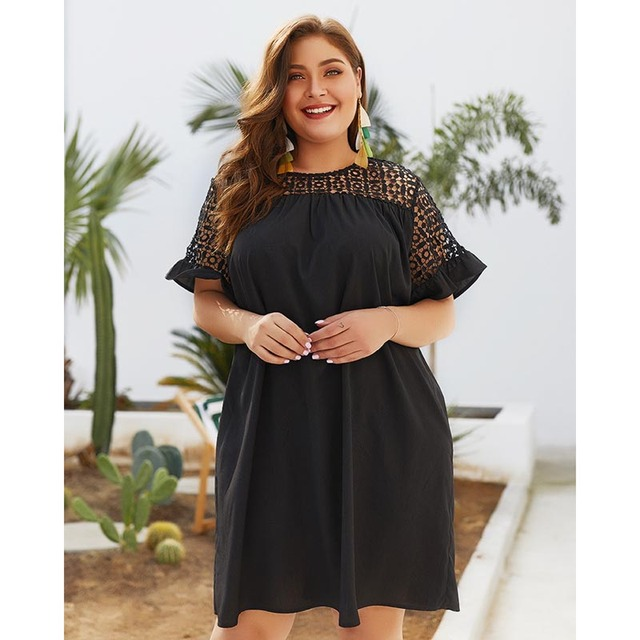 Europe America 2019 Spring Summer women's sexy lace round neck solid color short-sleeved large size dress women fashion dress