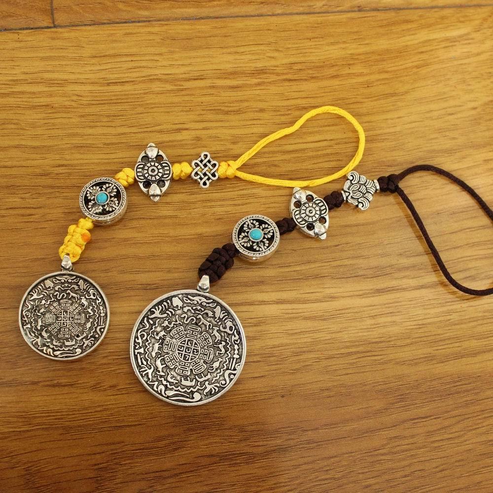 PN027 Tibetan Silver Men Amulet Key Chain Jiugong Bagua Charms Pendant Handmade Lucky Knot Amulet Pendant