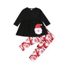2PCS New Kids Girls Christmas Clothes T Shirt Top Dress + Pants Outfit Set Tracksuit 1-6Y стоимость