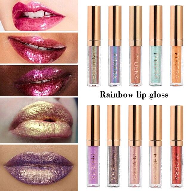PHOERA marca brillo líquido lápiz labial metálico labio maquillaje mate brillo de labios impermeable duradera de brillo de labios Color 10 TSLM2