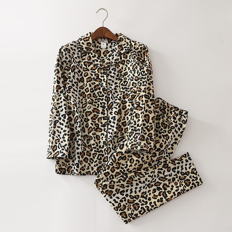 QWEEK Women Sleepwear 100% Cotton Leopard Print Women   Pajamas     Sets   Soft Brushed Pijama Mujer Long Sleeve Pyjama Femme 2 Pieces