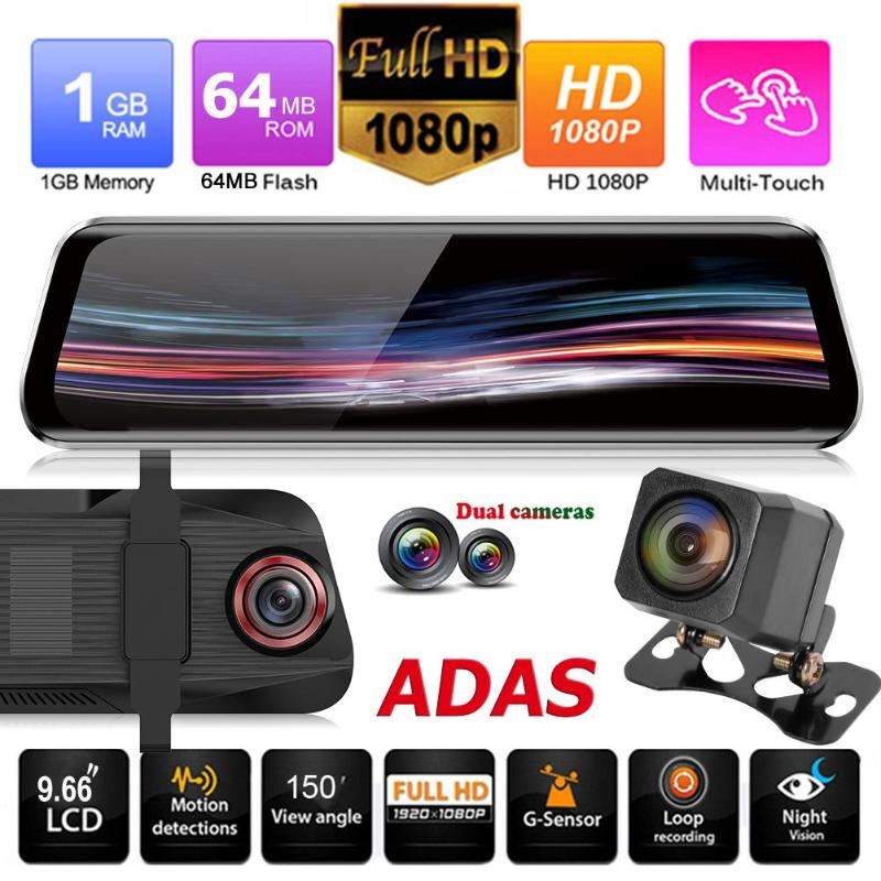 Anytek T11 9 66 Inch IPS Touch Rearview Mirror DVR Camera 1080p 720p 1080P Dual Lens