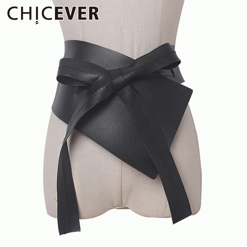 CHICEVER 2020 Summer Irregular Bandage Female Belts Made Of Genuine PU Leather Cummerbunds Black Women Belt New Fashion
